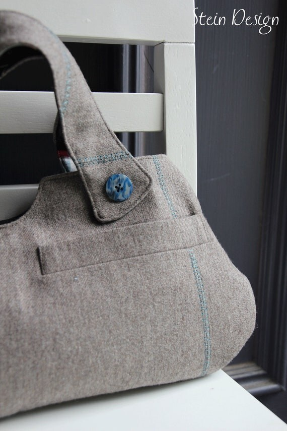 OOAK Upcycled Man's Suit Coat, Small Tote, Taupe, Brown, Gray, Teal