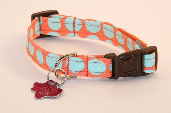 Orange and Aqua - Dog Collar - Adjustable