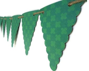 Irish Home Decor, Paper Bunting Banner, Green Wall Decoration, Banner Photo Prop, Hanging Green Triangles, Rustic Bunting Banner