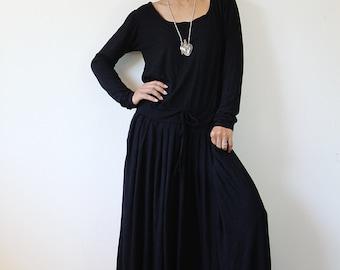 PLUS SIZE  Black Maxi Dress -  Long Sleeve dress : Autumn Thrills Collection No.1 (best seller)