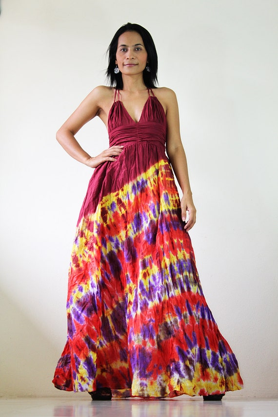 Tie Dye Dress - Colourful Maxi Dress Cotton Bohemian Dress : Exotic Collection