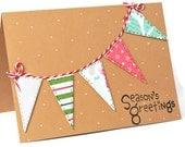 Christmas card bunting flag Holiday card. Season's greetings Holiday card Contemporary card