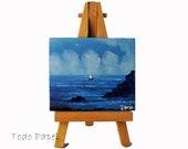 Miniature artwork . oil . original painting . blue sea . blue sky . sailing boat . relax . calm