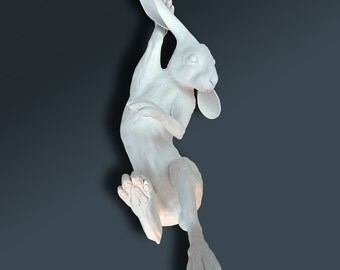 Hare Sculpture  - Life Size - Matte White Finish - Number 4/10