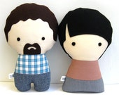 A Couple of Handmade Personalized Plush Dolls. Custom your own family.