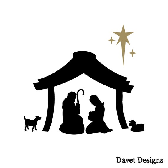 Nativity Scene Vinyl Lettering fits perfect on by DavetDesigns