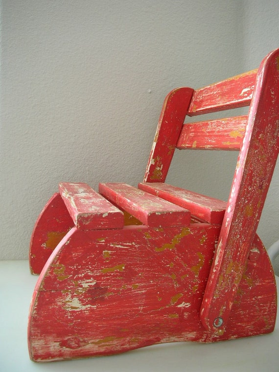 Child S Folding Stool Step Chair Wooden Vintage Painted
