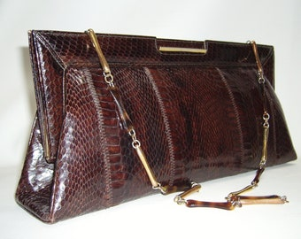 Vintage Brown Snakeskin Clutch Purse 14 1/2 inches long