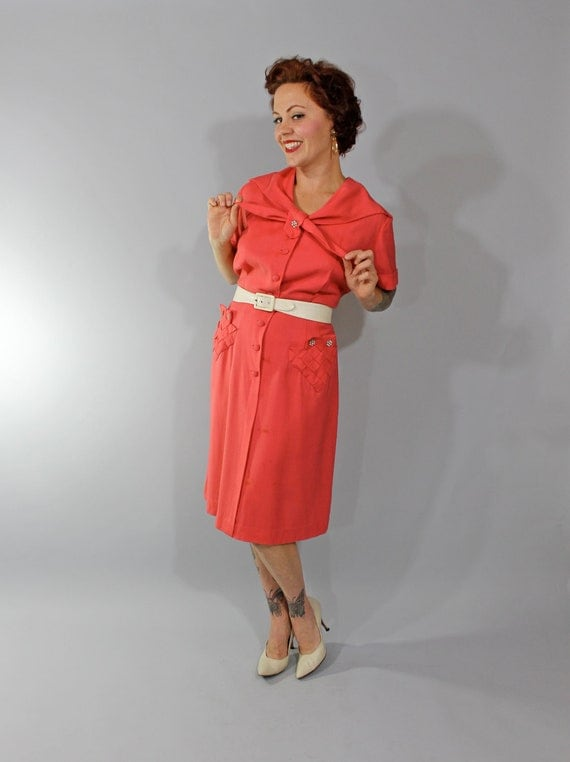 1950s Vintage Dress...Coral Shirtwaist Mad Men Fashion Office Dress with Rhinestone Buttons By Toni Todd Plus Size