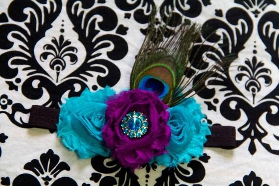 SALE Glamorous Peacock Shabby Rose Headband