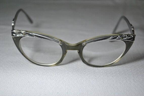 Vintage Aluminum Frame Floral Cat Eye Glasses