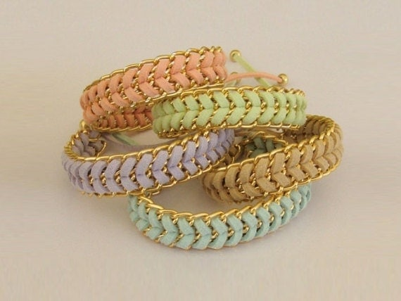 Pastel Sorbet Stacking  Fashion Bracelets - in Mint Peach Beige Lavender or Lime - CHOOSE your color