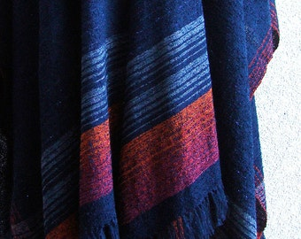 Handwoven Poncho Coat in Blue and Red Wool - OOAK