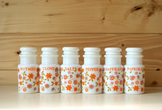 Spice jars, vintage retro storage, milk glass.
