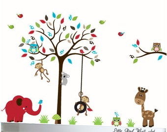 Owl tree decal wall art sticker vinyl wall decal owl decal tree childrens decal animals
