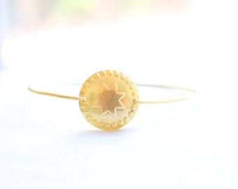 Brass Dotted Star Bangle, Star Bracelet, Moroccan Bangle, Charm Bracelet, Stackable Bangle