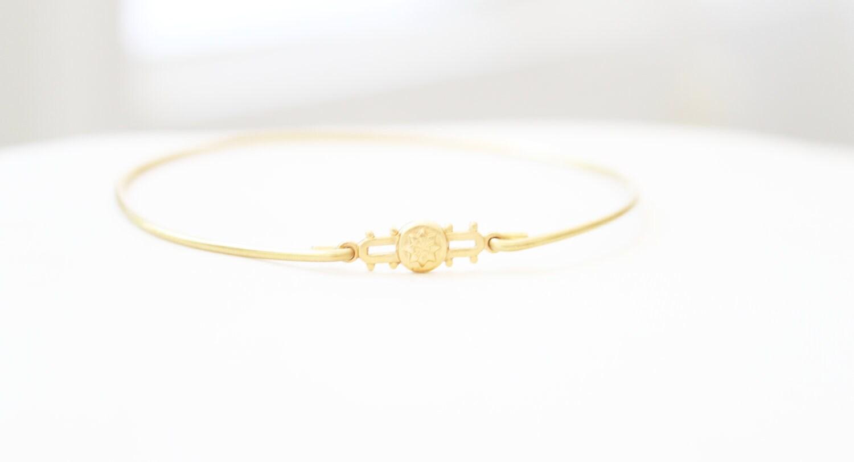Vintage Moroccan Star Brass Bangle, Charm Bracelet, Stackable Bangle