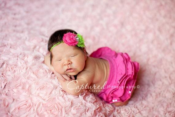 Double mini shabby flower fancy headband. Infant, toddler, child, adult sizes