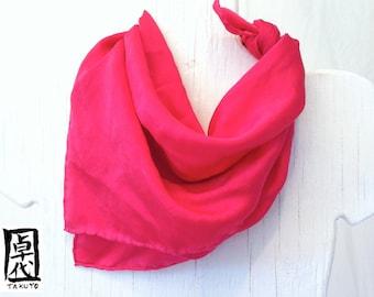 Pink silk scarf. Hand Dyed Square Silk Scarf. Fuschia Pink Silk Satin Scarf. Silk Scarves Takuyo. Luxury Silk. Approx 20x20 in.