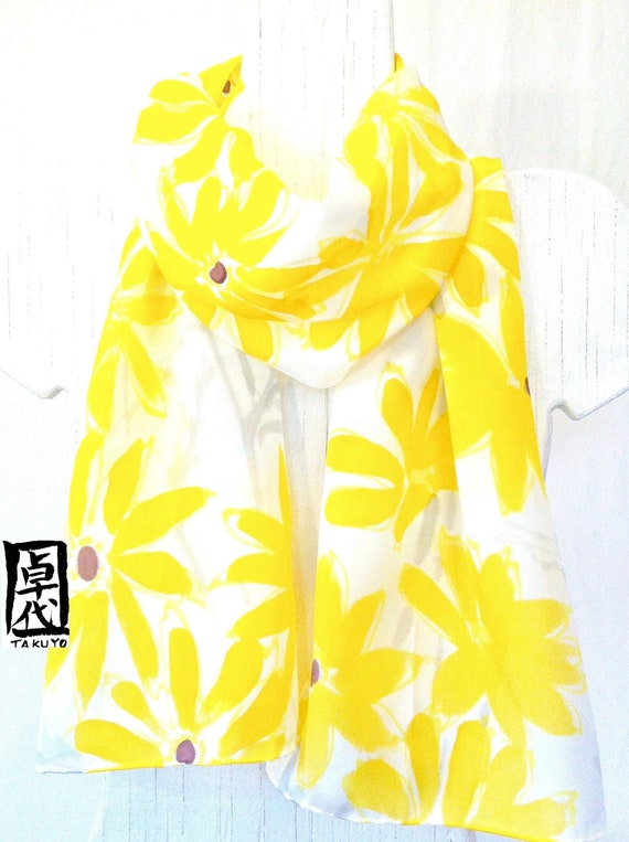 Silk Scarf Hand Painted, Gift for her, Anniversary Gift, Yellow Scarf, Yellow and Gray Daisies Scarf, Takuyo, 11x60 inches, Made to order,