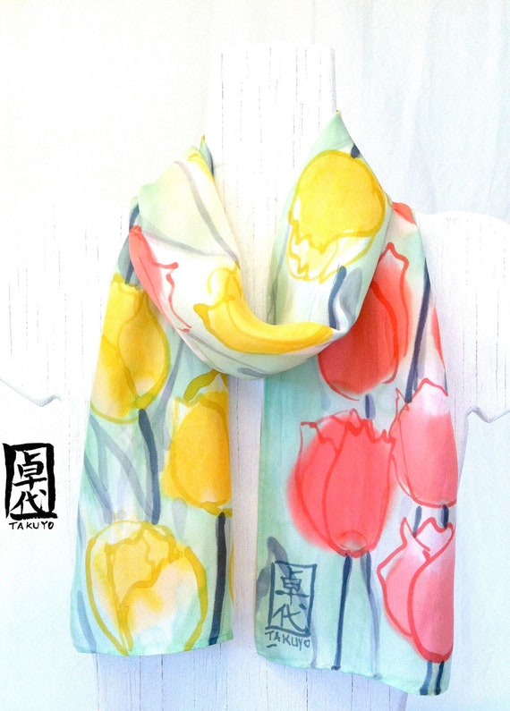 Hand painted silk scarves. Floral Silk Scarf. Pastel Pink Yellow Tulips. Silk Scarves Takuyo.. Pastel Fashion. Silk Dye. Approx 7.5x52 in.