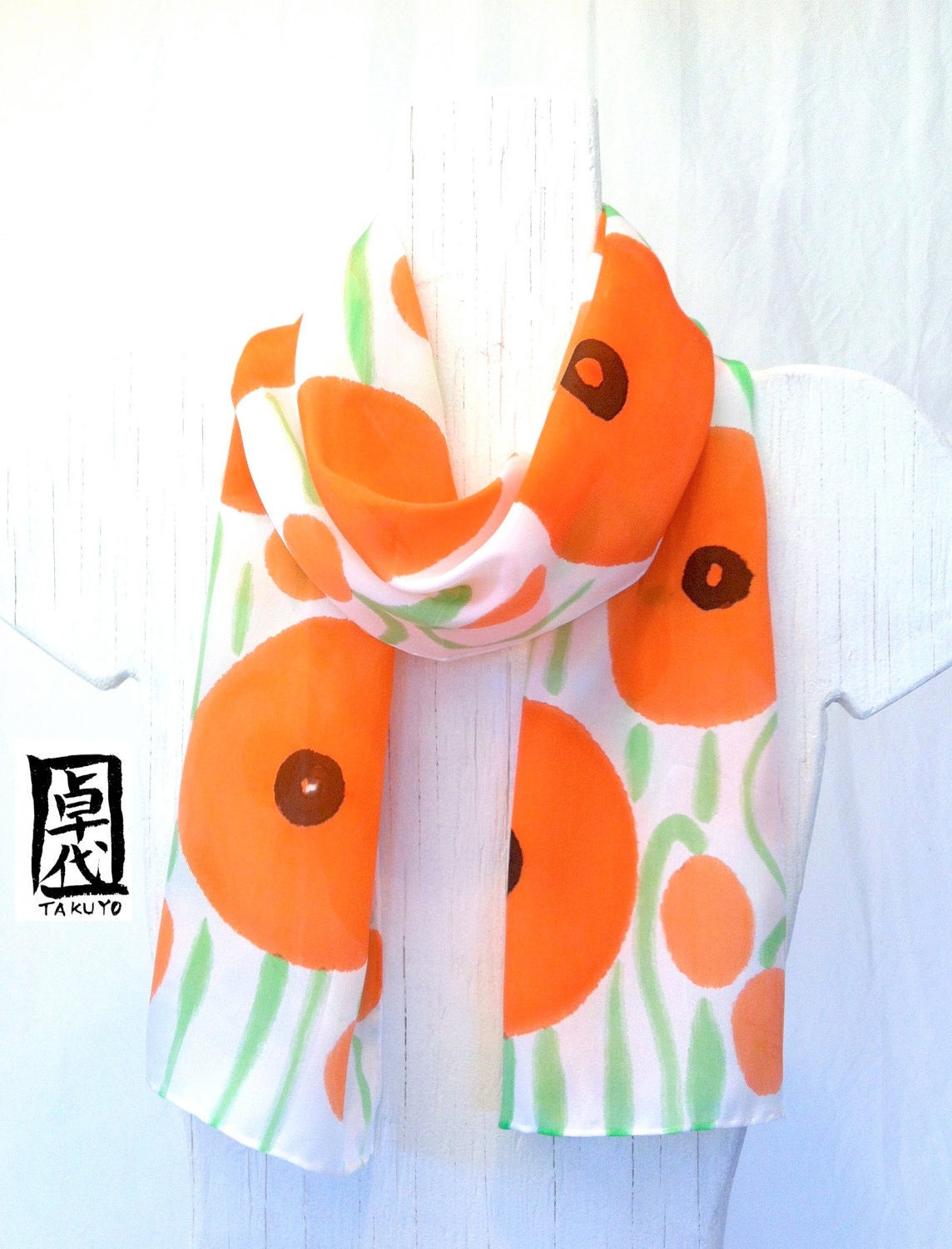 Hand Painted Orange Silk Scarf Orange Poppies Floral Scarf Made in  Silk Scarves Orange