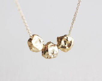 Gold Nuggets Necklace - small golden nugget trio 14k gold filled necklace, stocking stuffer