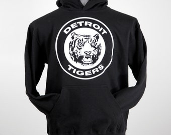 Vintage 80's Detroit Tigers Logo // black hooded sweatshirt