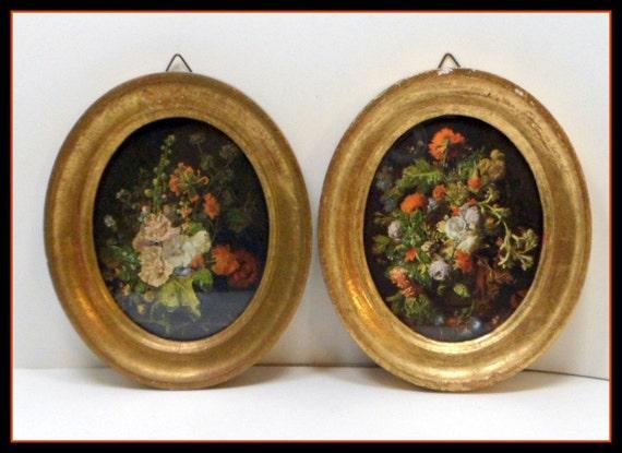 Vintage Italian Florentine Wall Plaques Flowers