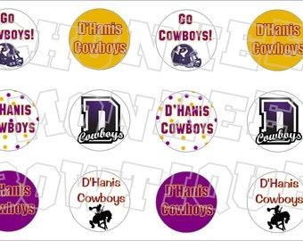 D'Hanis Texas Cowboys bottlecap image sheet -  high school mascot