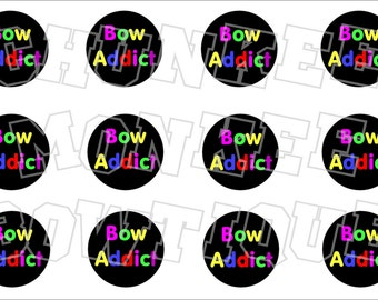 Bow Addict colorful bottlecap image sheet