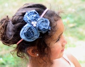 Denim Rosette & Pearl Headband