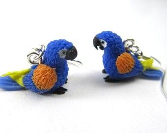 Parrot Earrings blue Bird Earring Minibllings Zoo Macaw