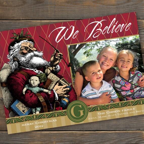 Christmas cards, Santa Clause Christmas card, vintage Santa card, We Believe card, photo Christmas card, monogram photo card, CC055
