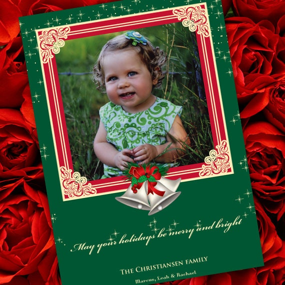 Christmas cards, Christmas bells holiday card, green and gold card, silver bells Christmas, red and green Christmas, CC031