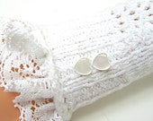 Fingerless Gloves 'Pure White' Lacy bridal prom stretch cotton. MADE TO ORDER