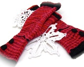 Fingerless Gloves Red Black lace pattern mitts, stretch cotton, ready to ship