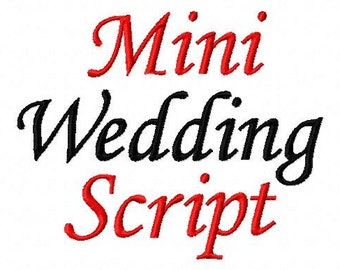 Mini Wedding Script - Machine Embroidery Font - Sizes .5in. (half inch) BUY 2 get 1 FREE - Mini Fonts