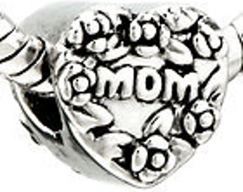 MOM  Silver  Metal Spacer Beads Fit  European Charm Bracelet
