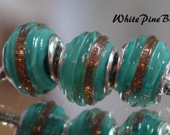 Turquoise Blue With Gold Flake Band  Bead   Murano Glass Fits European Bracelets