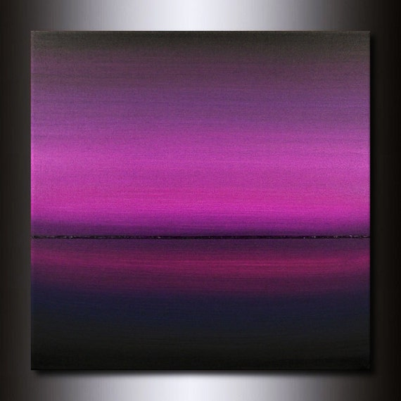 30x30 Purple Painting: Square Abstract Magenta Horizon