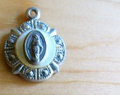 Vintage French Sterling Silver Virgin Mary Miraculous Religious Medal - Antique Jewelry from France