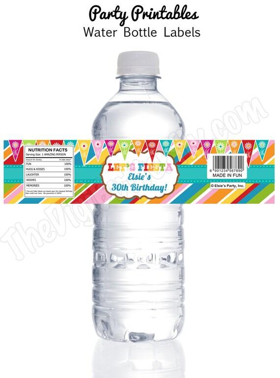 fiesta party personalized water bottle labels diy party With fiesta water bottle labels