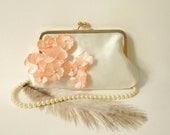 Romantic Clutch Purse- Ivory with Peach Flowers