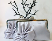 Art Deco Swirls Bridal and Bridesmaid Clutch Purse- Silver