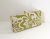Chic Dark Green and Natural Clamshell Clutch Purse