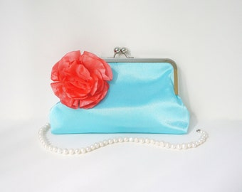 Blue Clutch Purse with Coral Flower Adornment