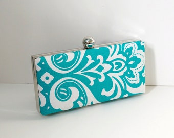 Chic Teal Clamshell Clutch Purse