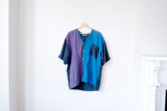 Silk Oversized Colorblock Shirt