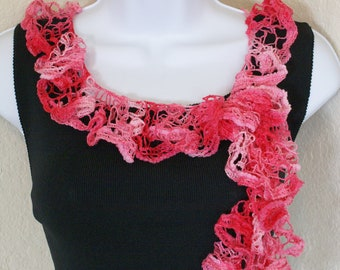 Ruffle scarf handmade  crochet lace and soft multi pink colors scarf for spring and summer